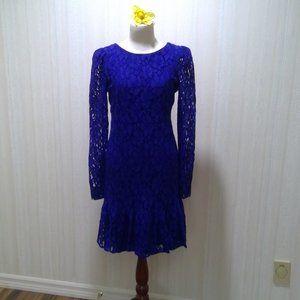 Royal blue full lace long sleeved dress